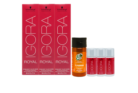 Kit Igora Royal 8.77, Água Oxigenada 30vol, Kamaleão Flamingo