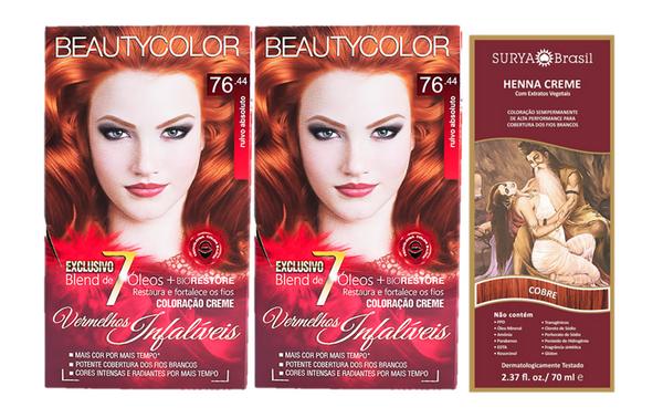 Kit Segredo da Cor - Beauty Color 76.44 e Henna Creme Cobre