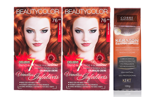 Kit Segredo da Cor - Beauty Color 76.44 e Kert Tonalizante Cobre