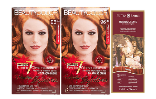 Kit Segredo da Cor - Beauty Color 96.44 e Henna Creme Cobre