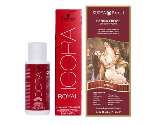 Kit Segredo da Cor - Igora Royal 8.77 HD, Água Oxigenada 30vol e Henna Creme Cobre