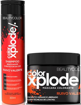Kit Shampoo Xplode Ruivo Valente 300ml e Máscara Xplode Ruivo Valente 300g