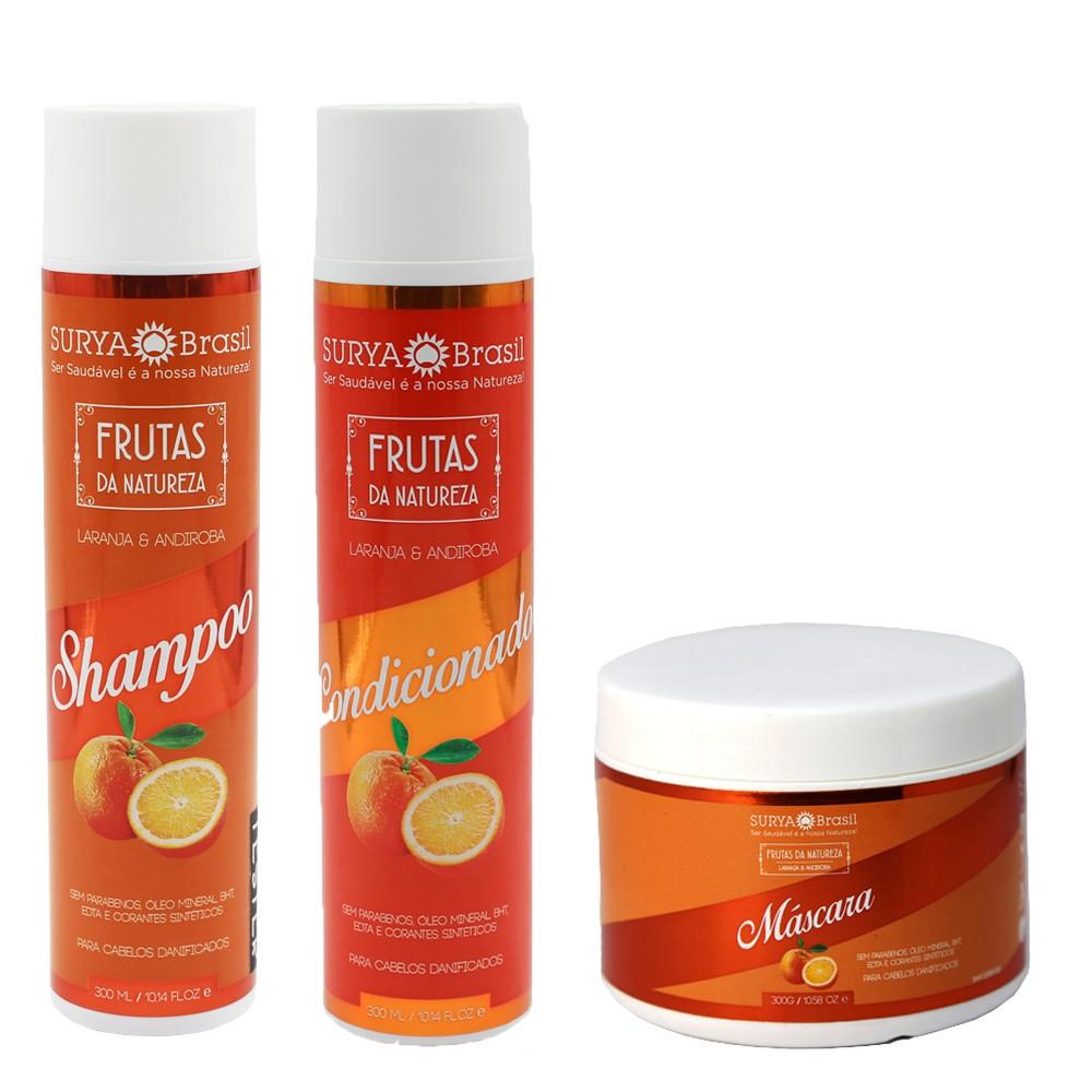 Kit Surya Brasil Laranja e Andiroba - Shampoo, Condicionador e Máscara