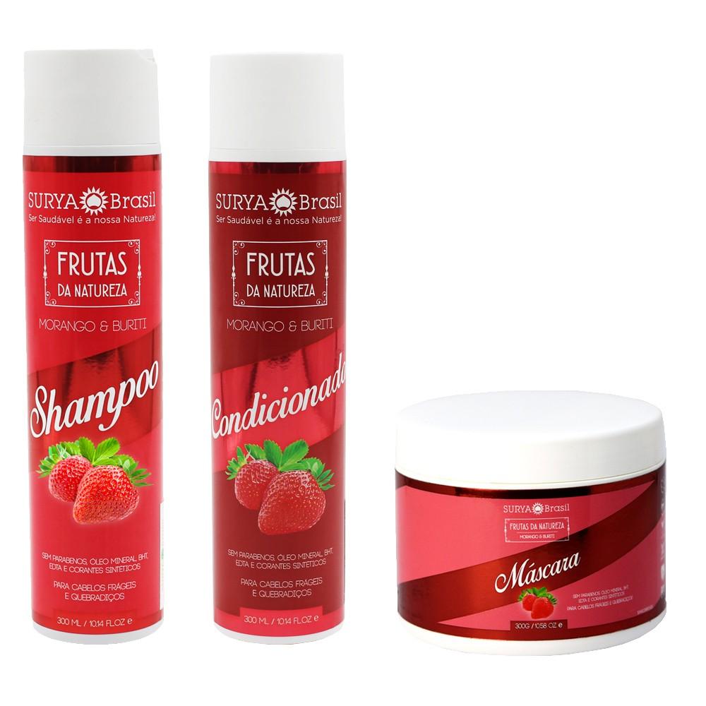 Kit Surya Brasil Morango e Buriti - Shampoo, Condicionador e Máscara