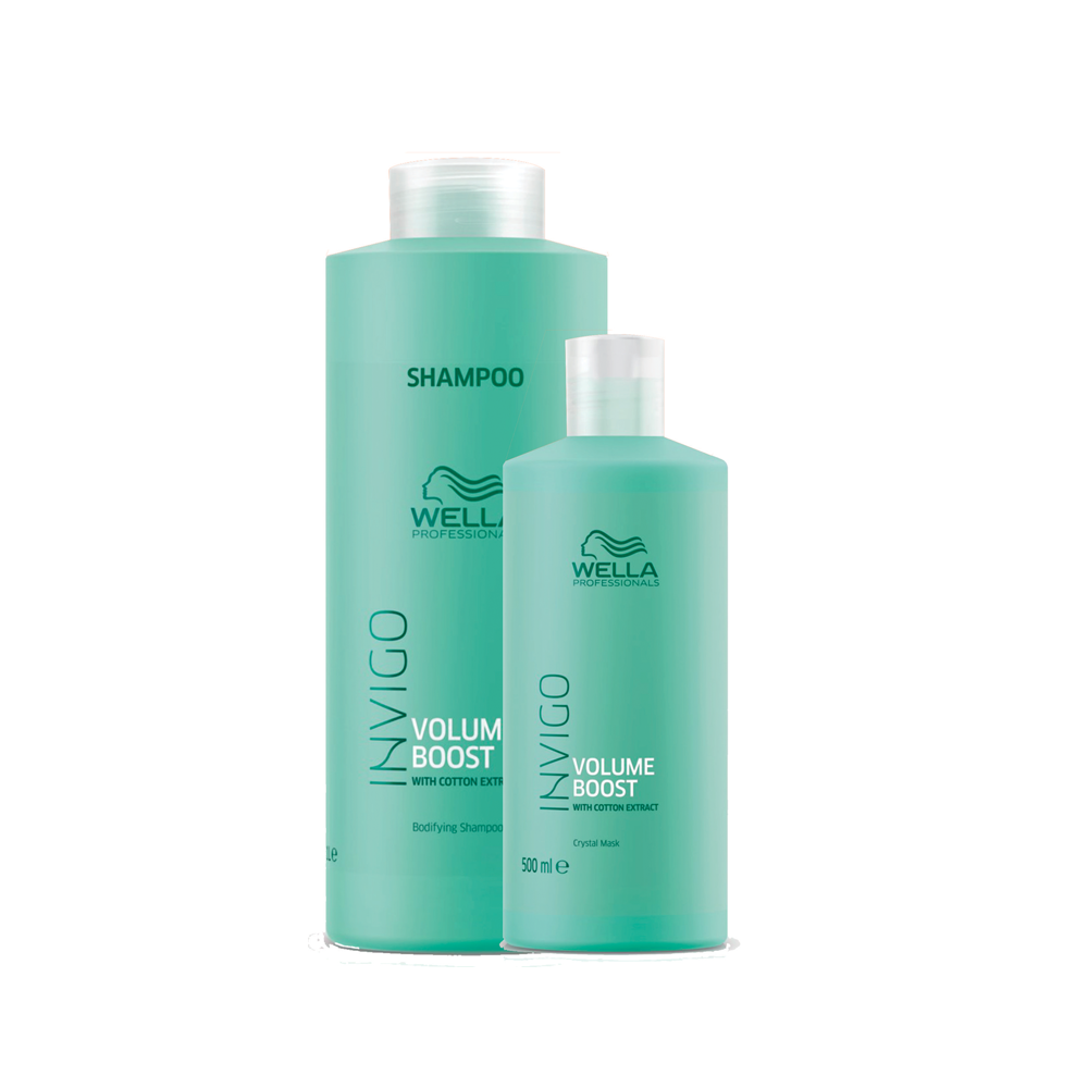 Kit Wella Volume Boost Shampoo 1L e Máscara 500ml