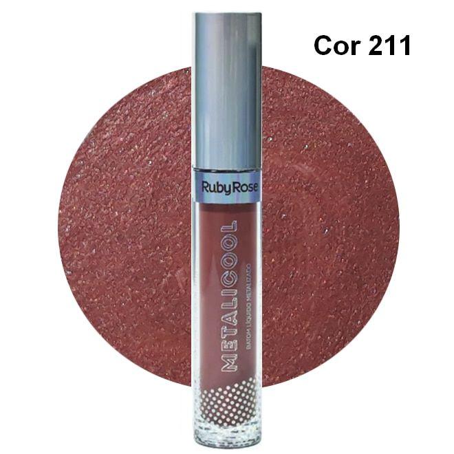 Ruby Rose Metalicool Batom Líquido Metalizado Cor 211