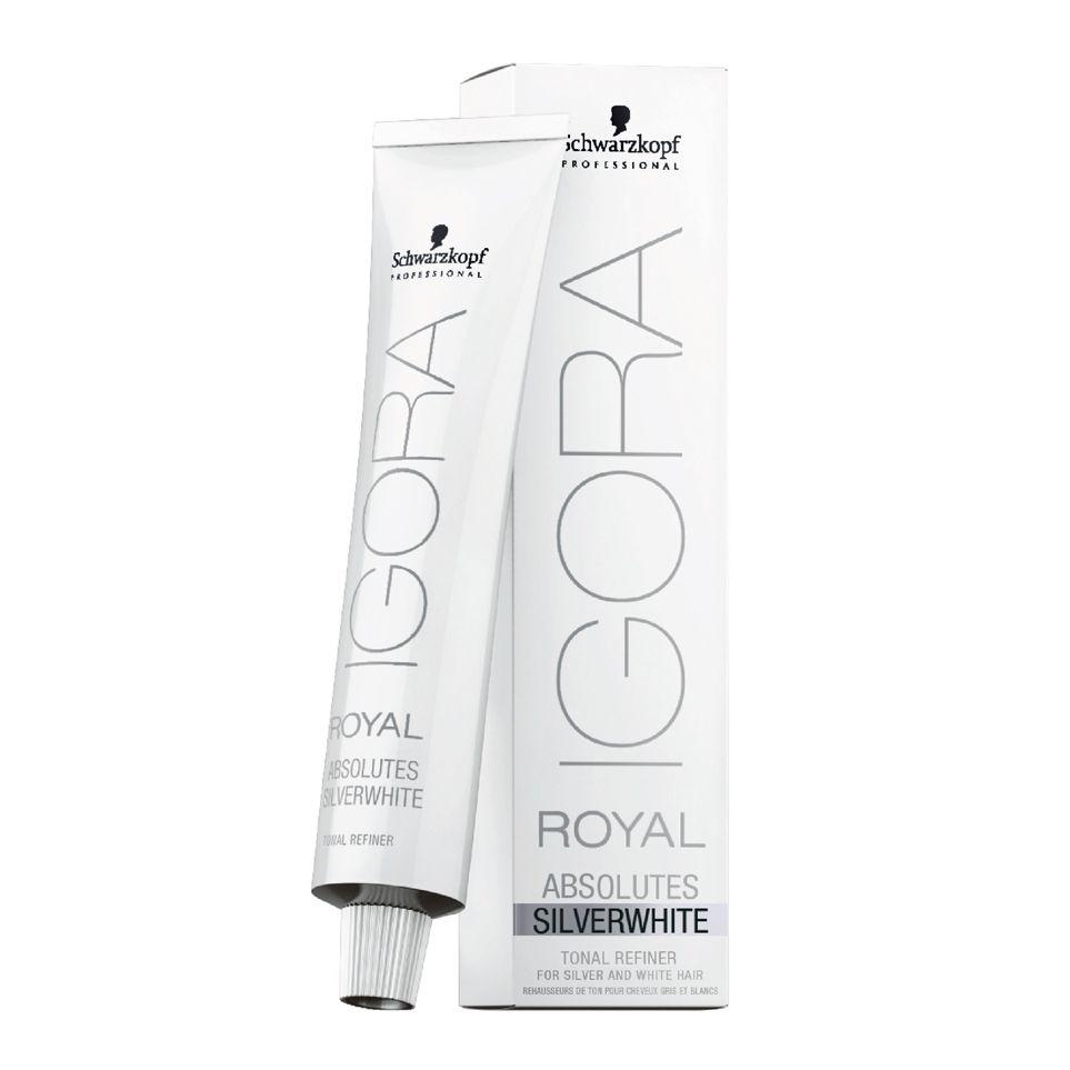Schwarzkopf Igora Royal Absolutes  Silverwhite Creme de Coloração Cinza Lilás 60g