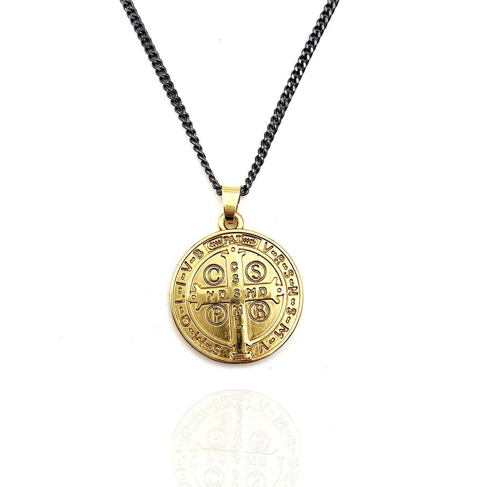 Colar Medalha de São Bento Dourada