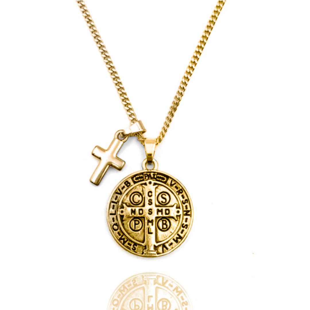 Colar Medalha de São Bento e Cruz Dourado