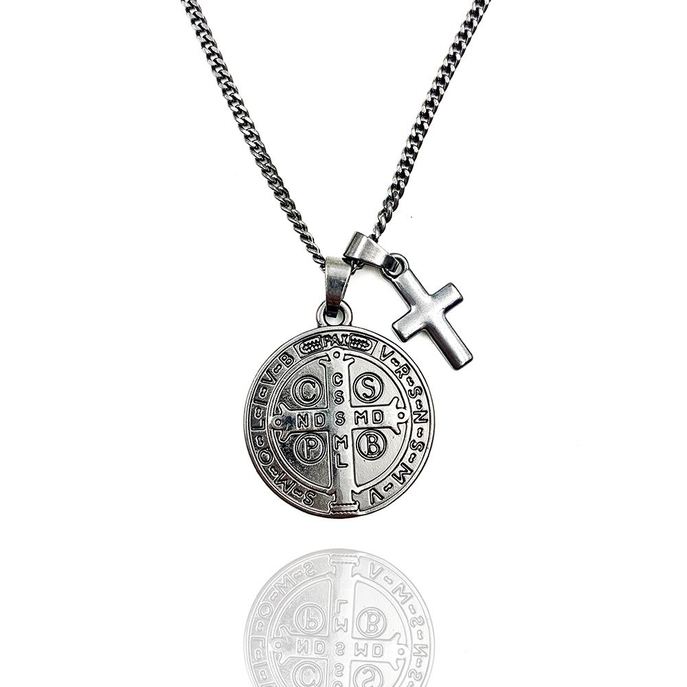 Colar Medalha de São Bento e Cruz Ródio Negro