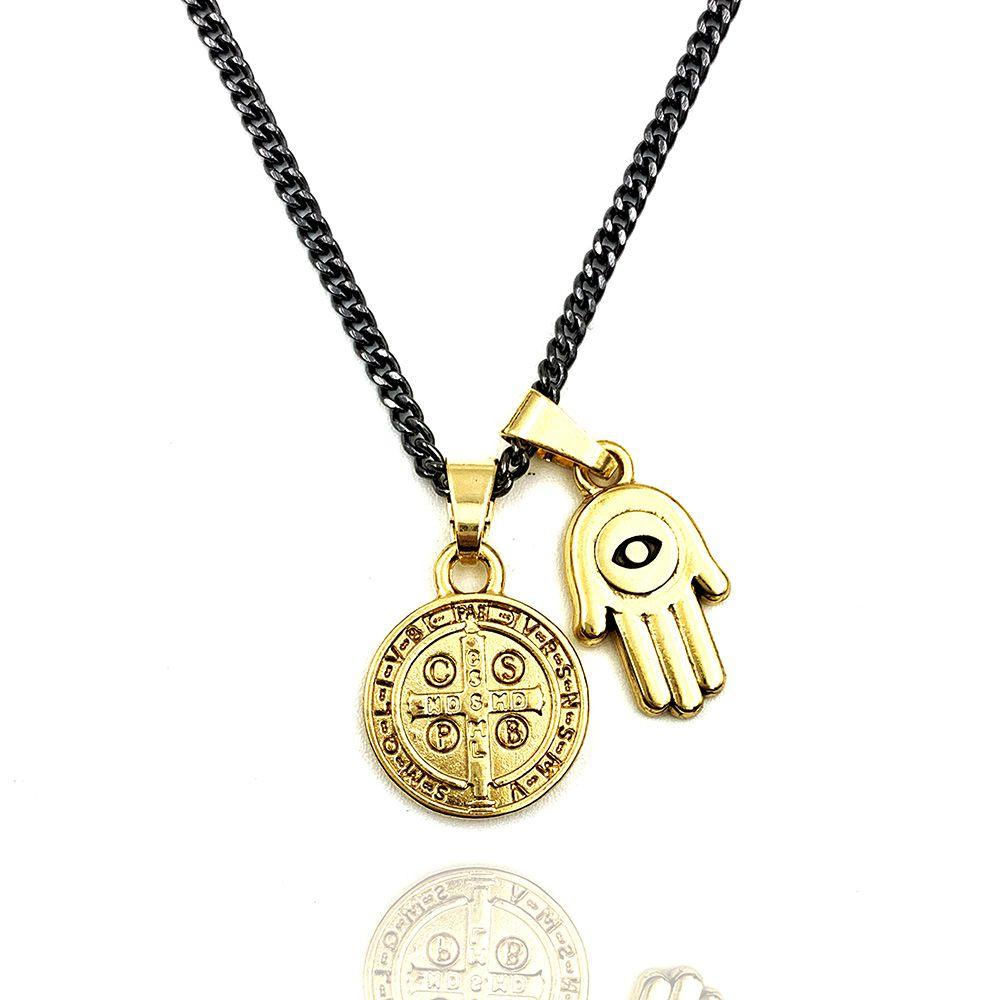 Colar Medalha de São Bento e Hamsa Gold