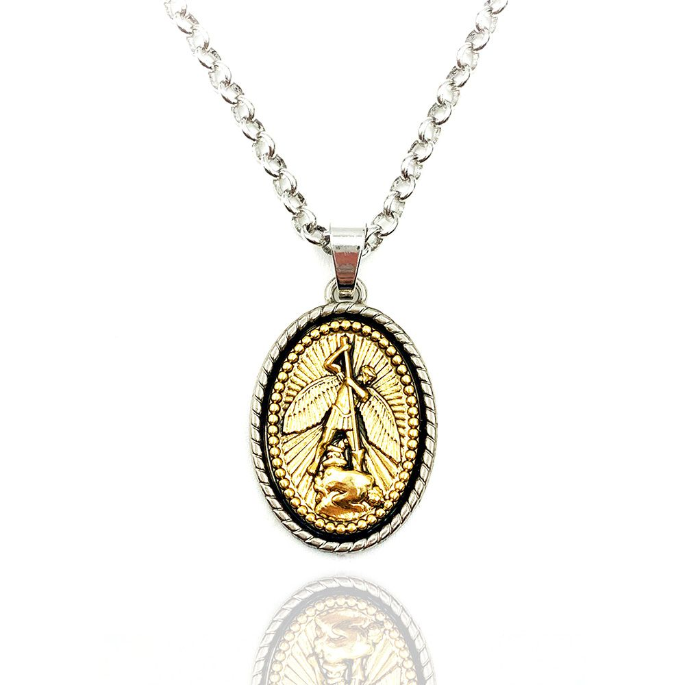 Colar Medalha de São Miguel Arcanjo Prateado