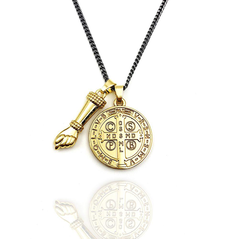 Colar Medalha São Bento e Figa Gold