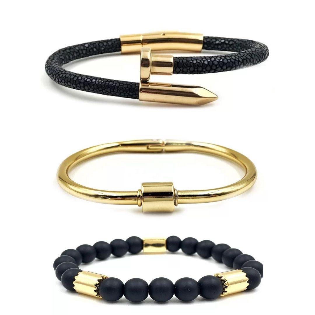 Combo Pulseira Glamour Gold