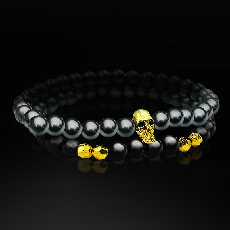 Conjunto Pulseiras Pedras Hematita Skull
