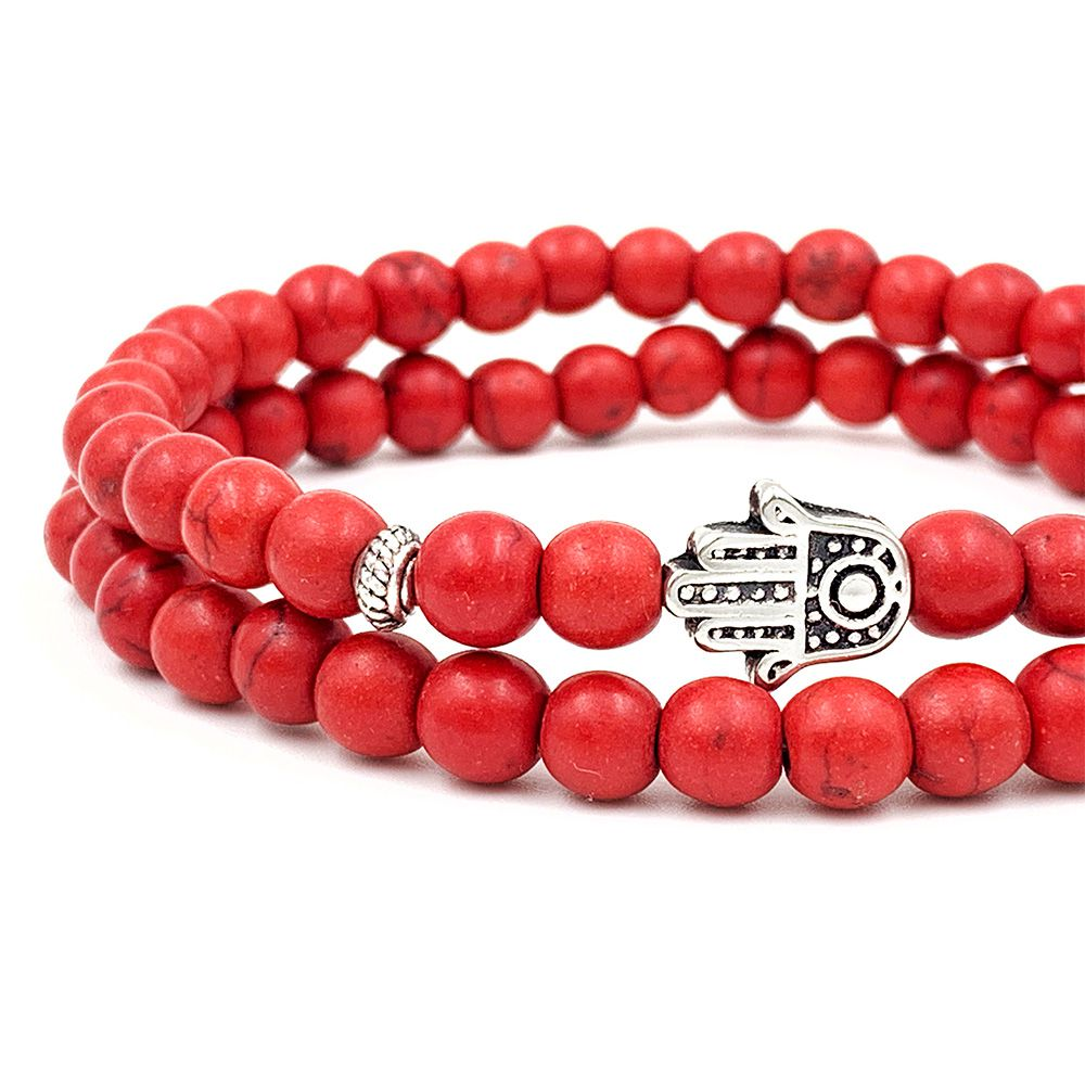 Double Howlita Red Bracelet
