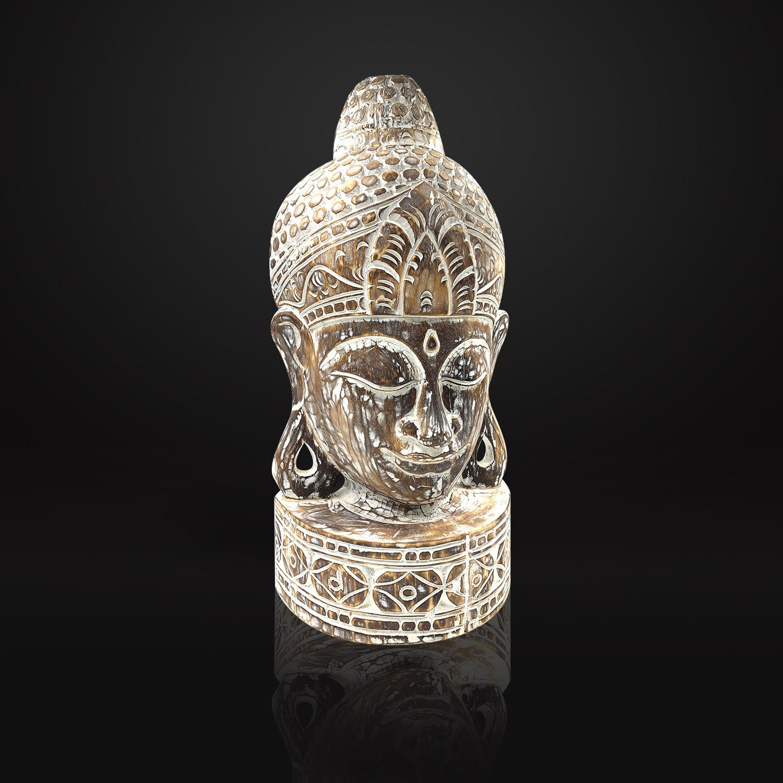 Escultura Buddha Esculpido Madeira