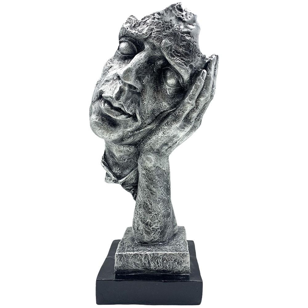 Escultura Máscara Decorativa ''Não Escuto'' Prateada