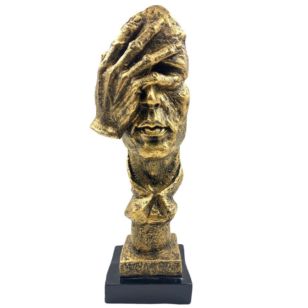 Escultura Máscara Decorativa '' Não Vejo'' Dourada