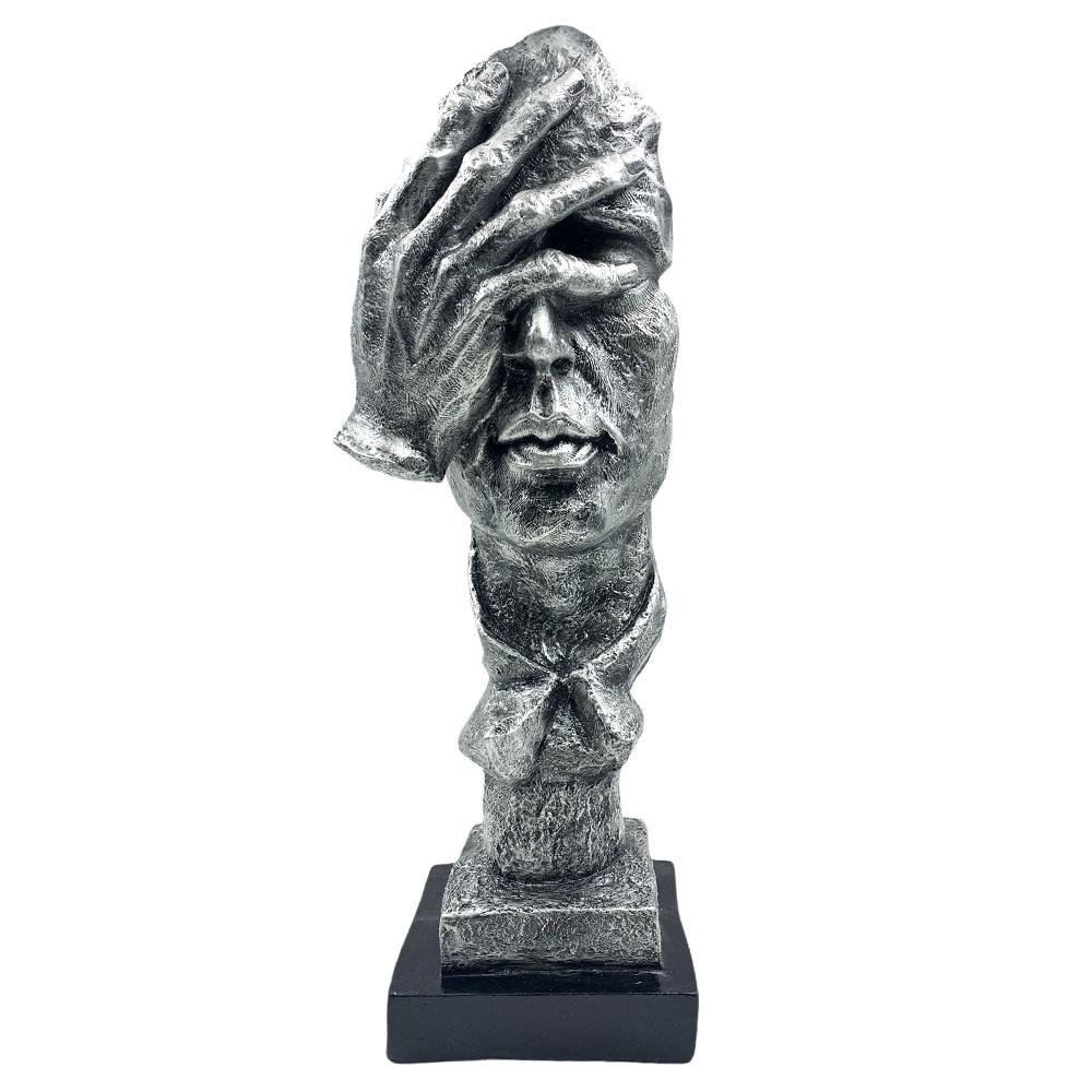 Escultura Máscara Decorativa ''Não Vejo'' Prateada