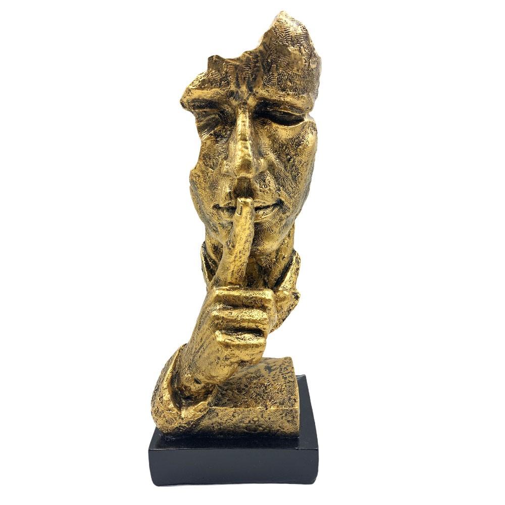 Escultura Máscara Decorativa ''Silêncio'' Dourada