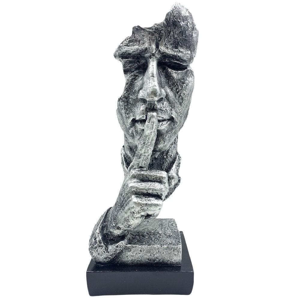 Escultura Máscara Decorativa ''Silêncio'' Prateada