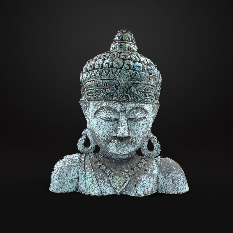 Escultura Rosto Buddha Esculpido em Madeira