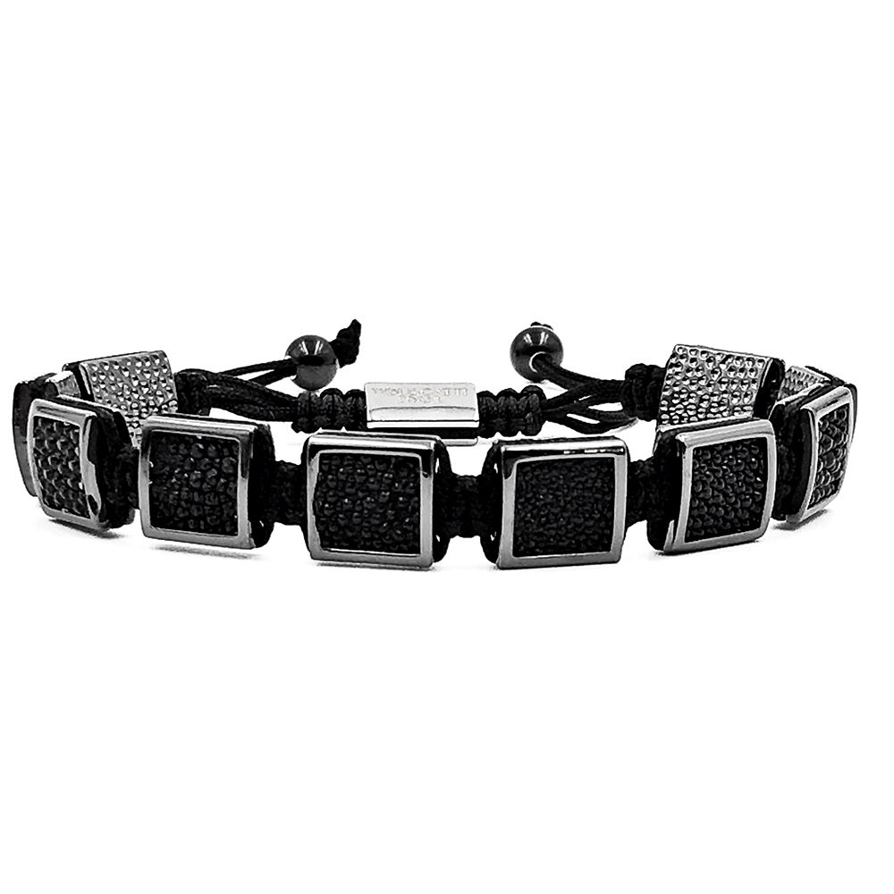 Pulseira Masculina Cubic Stingray Leather Black