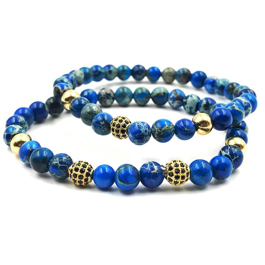 Pulseira Double Blue Stone Gold