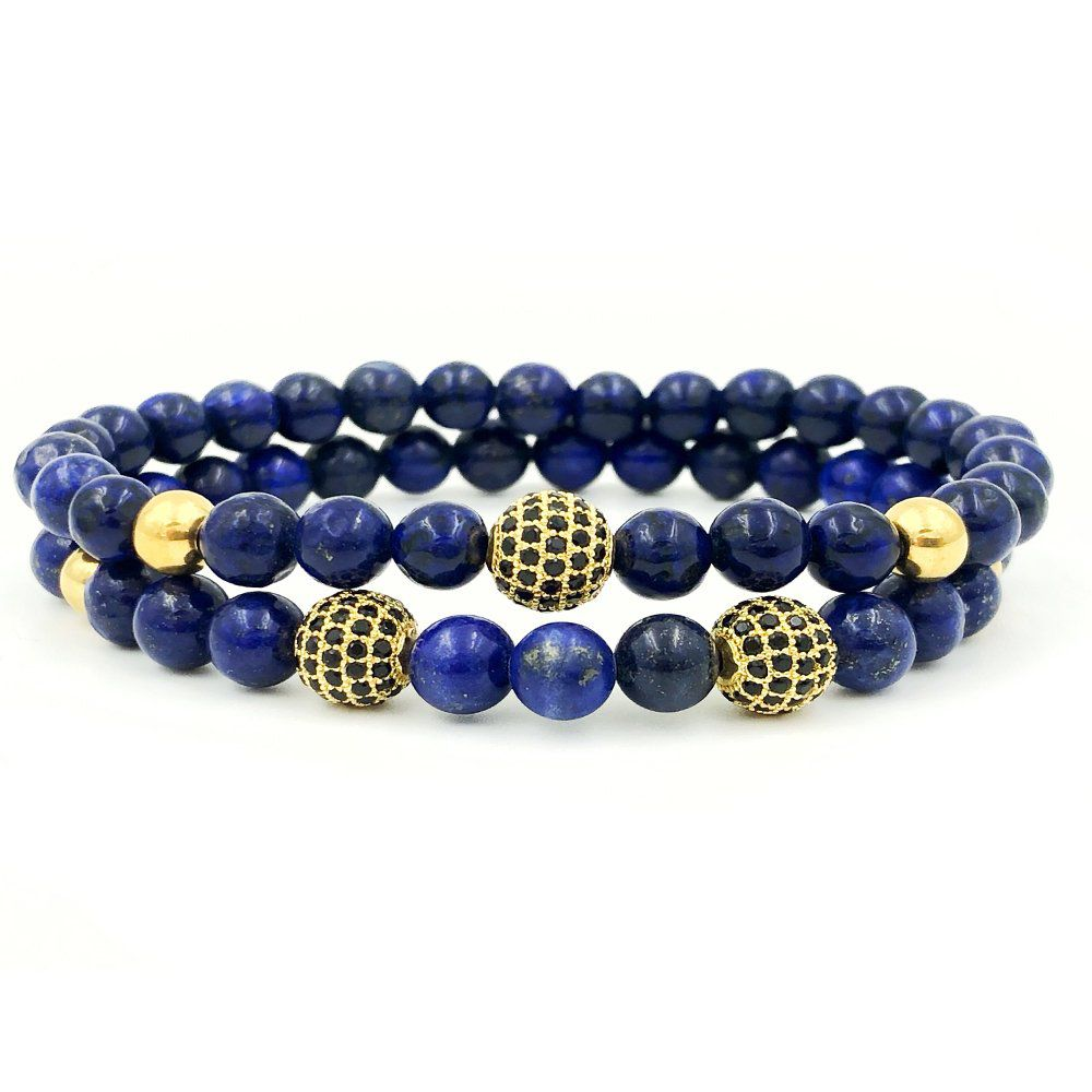 Pulseira Double Blue Stone Gold