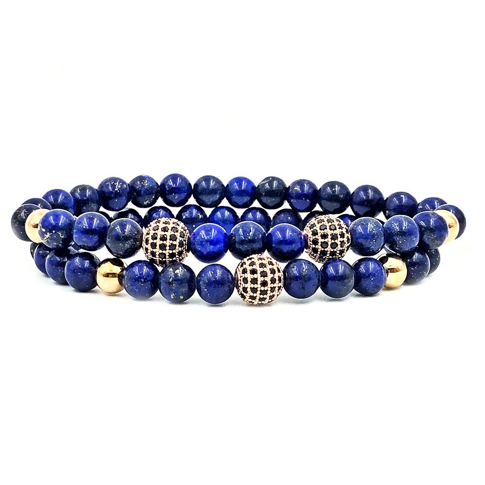 Pulseira Double Blue Stone Rose