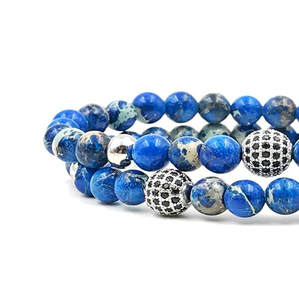 Pulseira Double Blue Stone Silver
