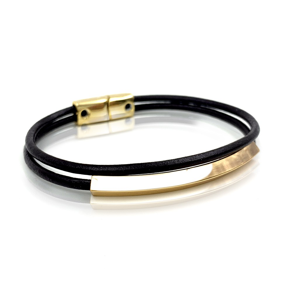 Pulseira Gold Leather