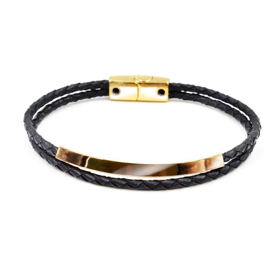 Pulseira Gold Leather Entrelaçada