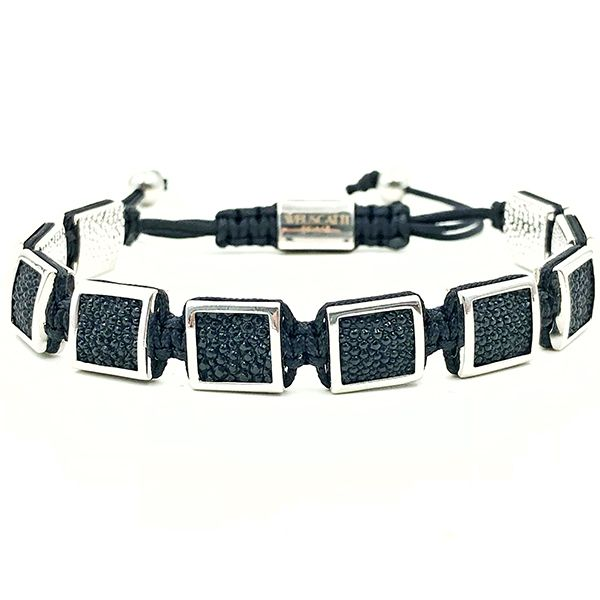 Pulseira Macrame Cubic Stingray Leather 18K Silver