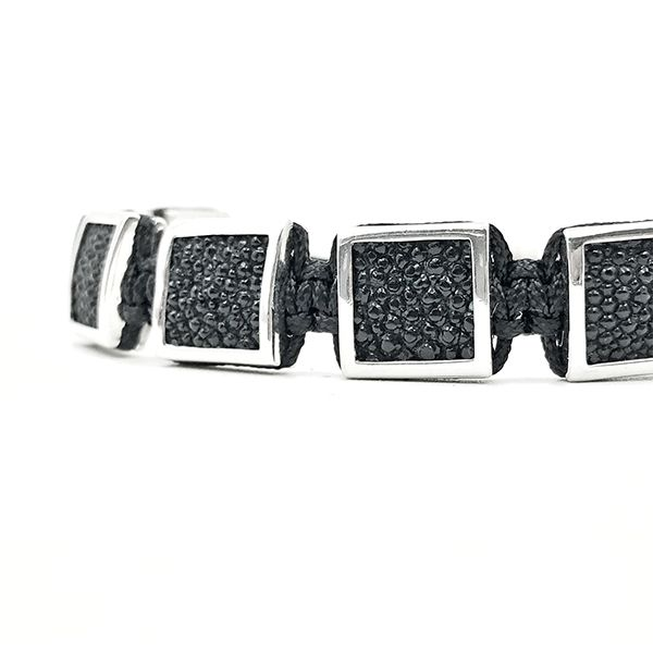 Pulseira Masculina Cubic Stingray Leather Silver