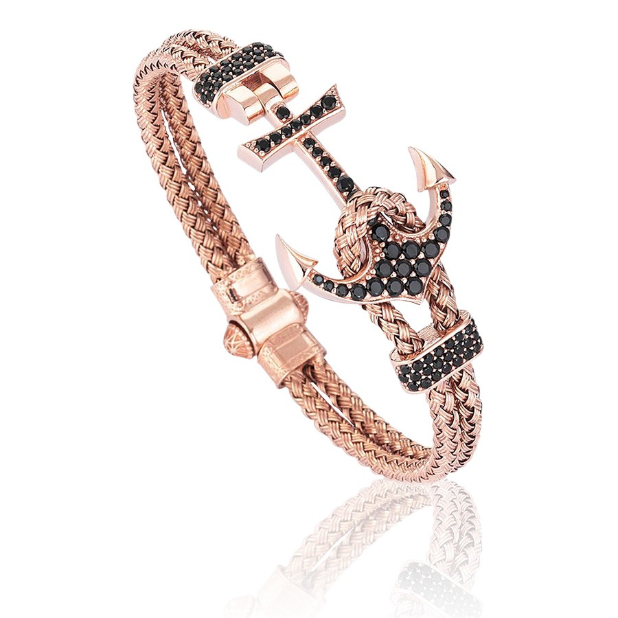 Pulseira Masculina Luxury Anchor Bangle Rose