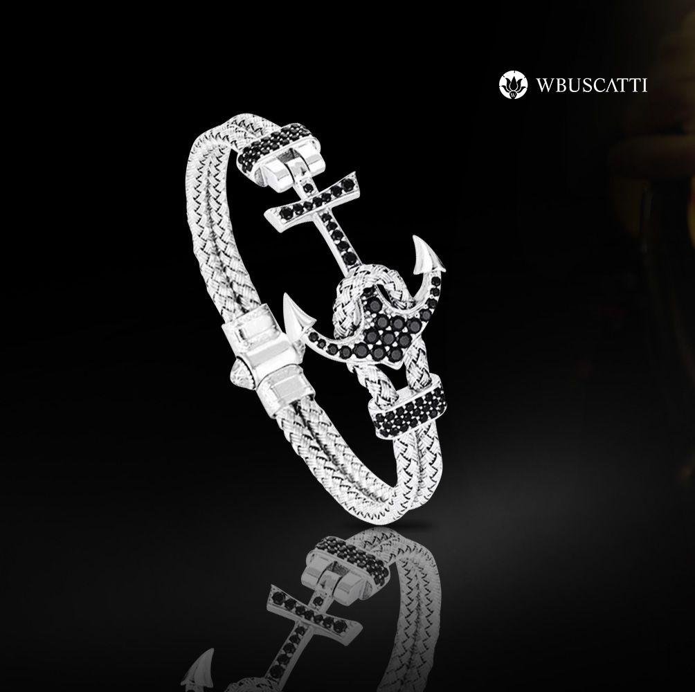 Pulseira Masculina Luxury Anchor Bangle Silver