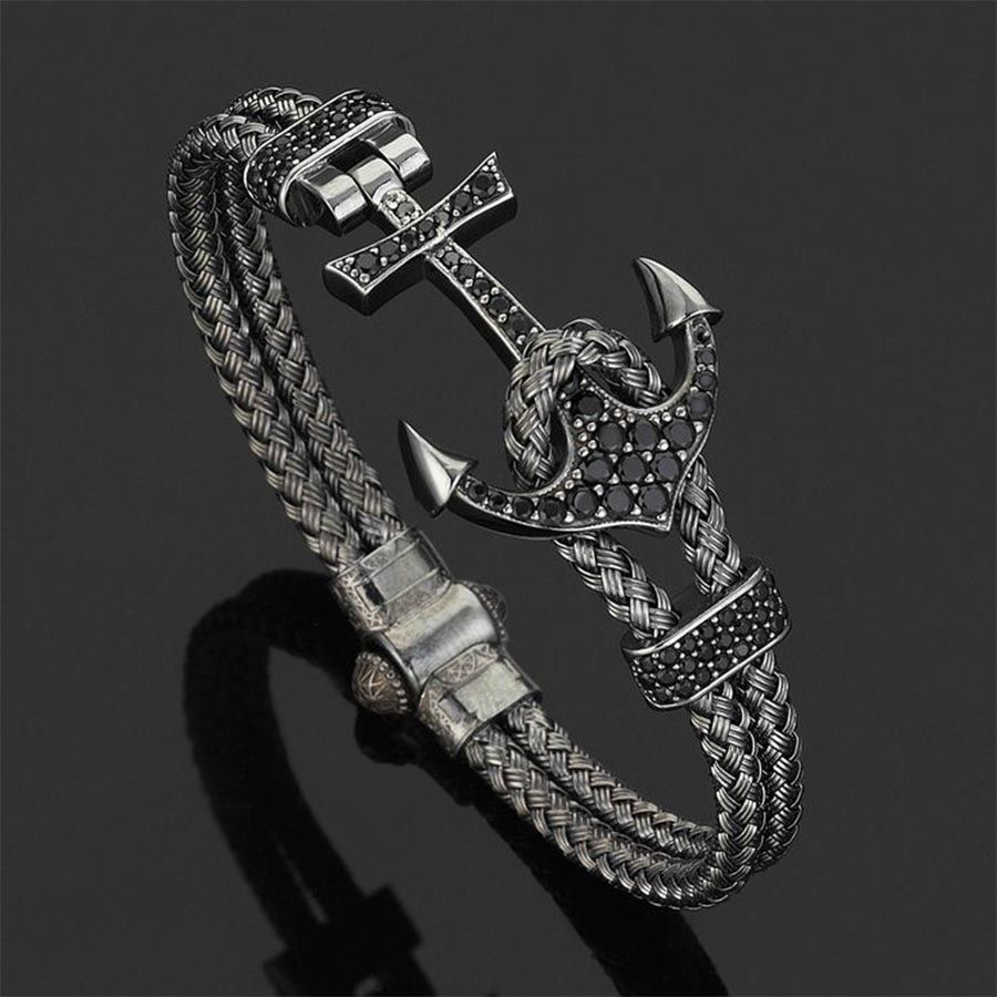 Pulseira Luxury Anchor Bangle Black