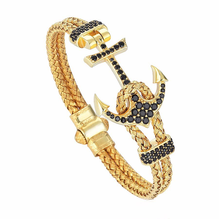 Pulseira Masculina Luxury Anchor Bangle Gold