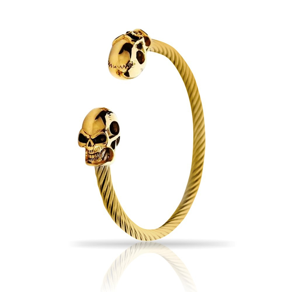 Pulseira Masculina Skull All Gold Lux