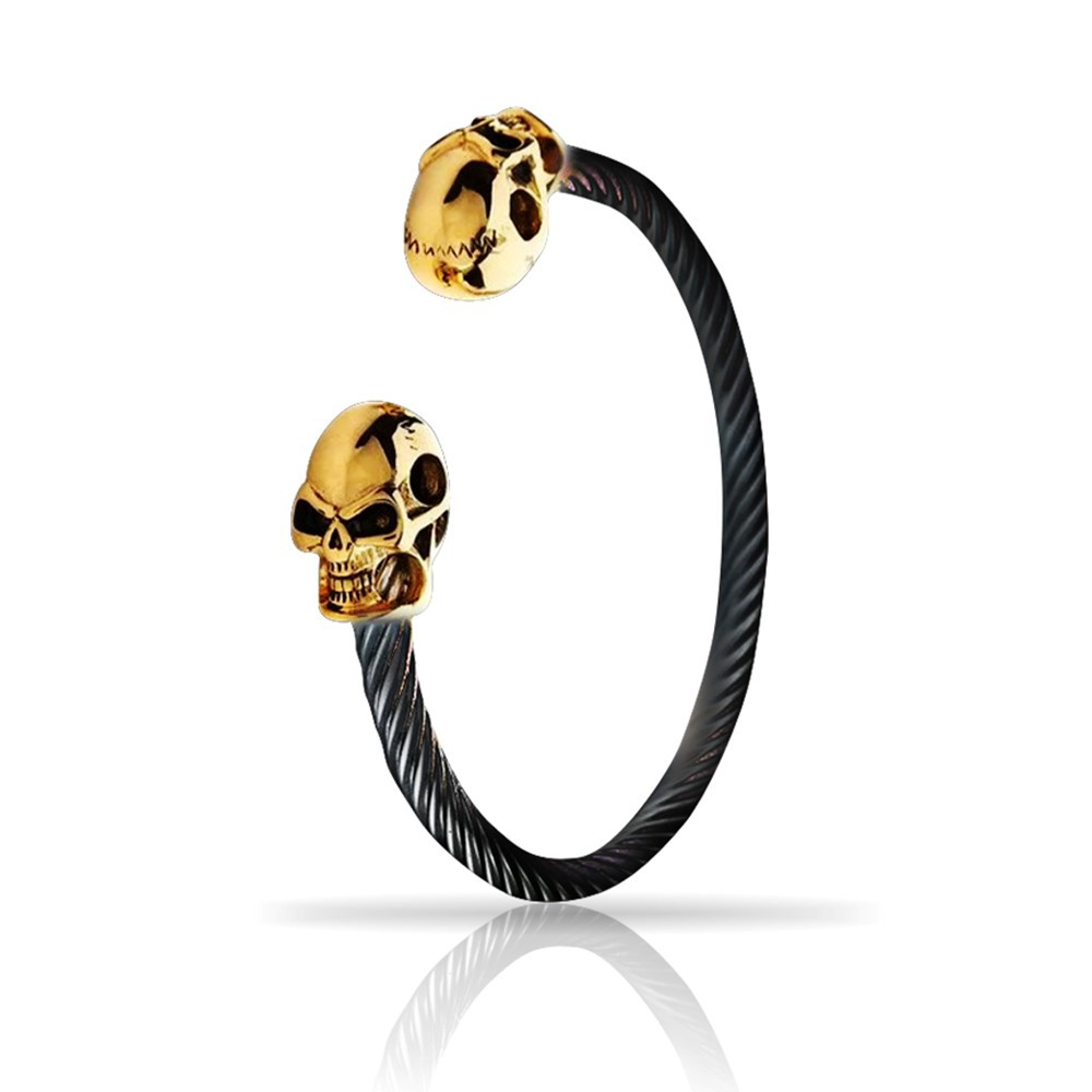 Pulseira Masculina Skull Black And Gold Lux