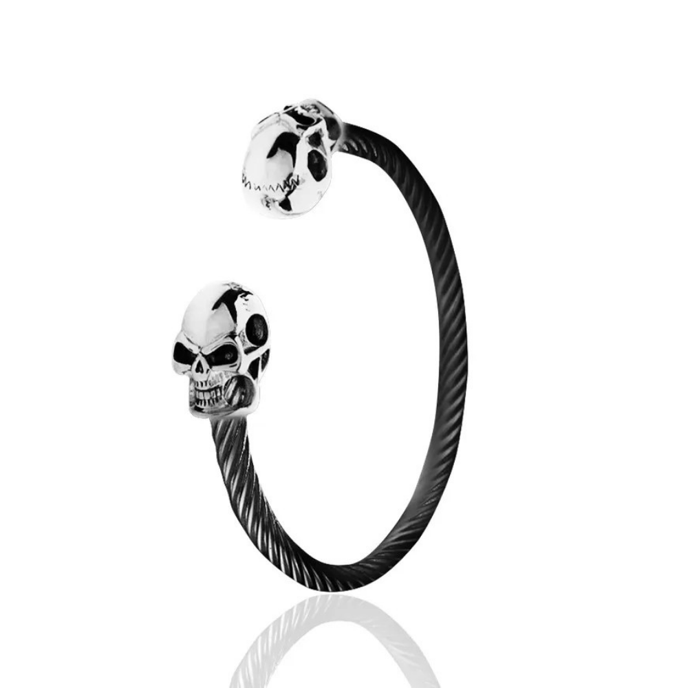 Pulseira Masculina Skull Black And Silver Lux