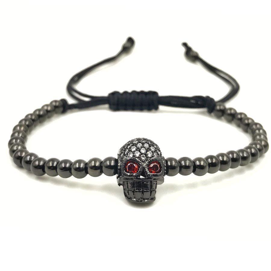 Pulseira Masculina Skull Macramê Black