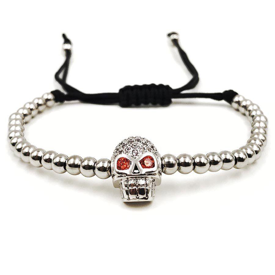 Pulseira Masculina Skull Macramê Silver