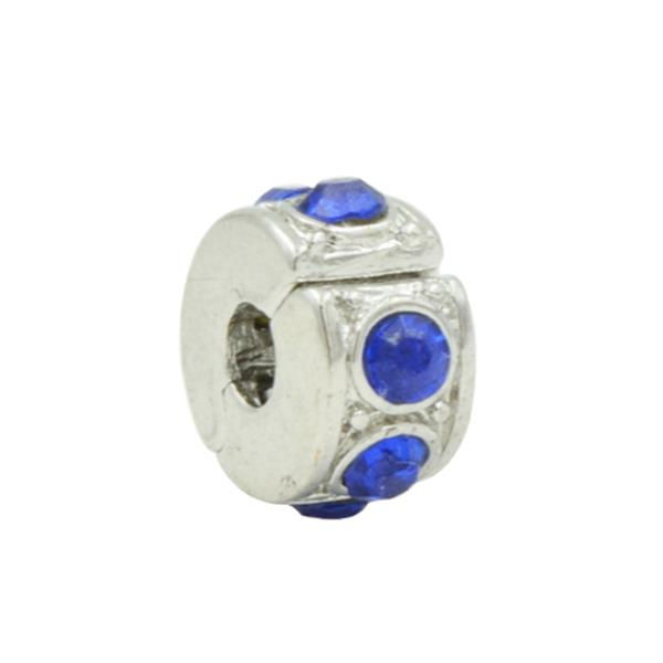 Trava Clip Pandora Inspired  Diamante Lapidado Azul