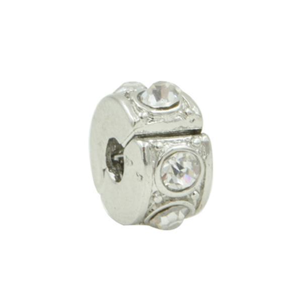 Trava Clip Pandora Inspired  Diamante Lapidado Cristal