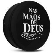 Capa de Estepe - Universal Aro 13 14 15 Nas Mãos de Deus Preto Branco Com Cadeado - Ecosport, Spin, CrossFox, Air Cross, Doblo