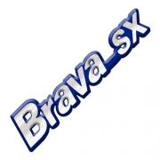 Emblema Adesivo - Brava SX  - Fiat - Cromado - Fundo Azul