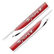 PAR - Adesivo para Carro - Sport (Branco)  - Plástico Injetado - Cromado - Fundo Vermelho